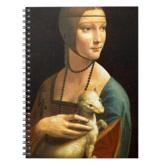 Caderno Senhora da pintura de Da Vinci original com um