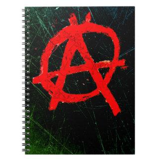 Caderno Símbolo vermelho sujo da anarquia
