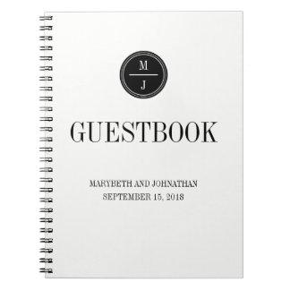 Caderno simples e elegante do livro de hóspedes do