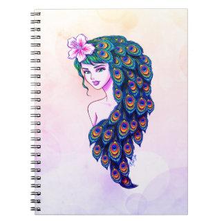 Caderno sonhador da arte glamoroso da deusa do