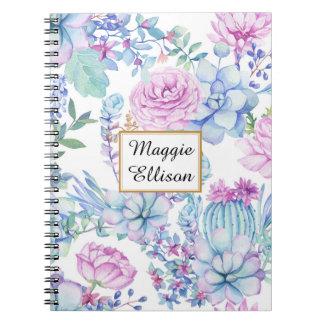 Caderno Succulents roxos e verdes personalizados no branco