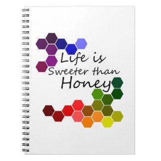 Caderno Tema do mel com palavras positivas