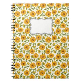 Caderno Teste padrão amarelo bonito dos girassóis do verão