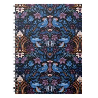Caderno Teste padrão azul do lux do pássaro do jardim