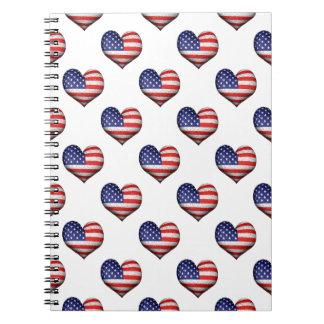 Caderno Teste padrão dado forma coração da bandeira do