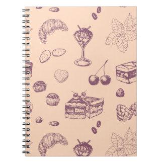 Caderno Teste padrão doce com várias sobremesas
