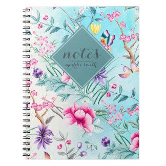 Caderno Teste padrão floral do Chinoiserie