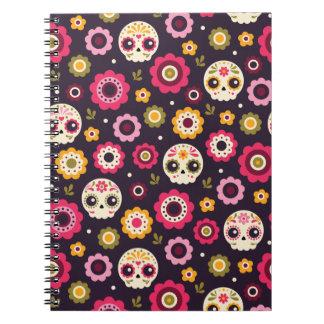 Caderno Teste padrão floral do crânio mexicano do açúcar
