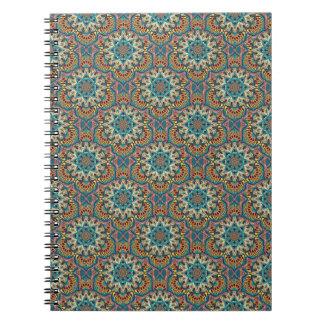 Caderno Teste padrão floral étnico abstrato colorido da