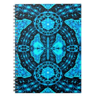 Caderno Teste padrão Funky azul de néon moderno
