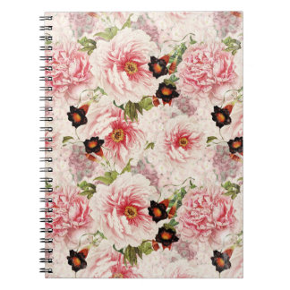 Caderno Teste padrão painterly do primavera retro da flor