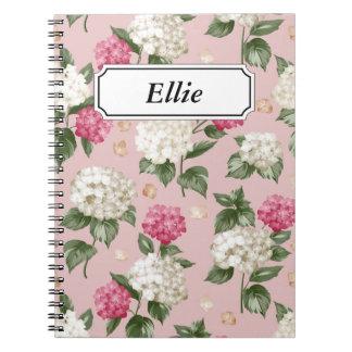 Caderno Teste padrão sem emenda floral do Hydrangea