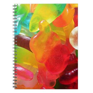 Caderno textura colorida da goma da geléia