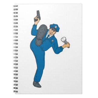 Caderno Tocha da lanterna elétrica da arma do polícia que