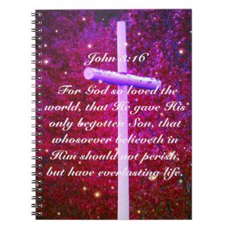 Caderno transversal cristão do vaga-lume do 3:16
