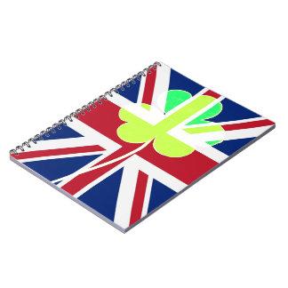 Caderno Trevo britânico irlandês St Patrick Reino Unido do