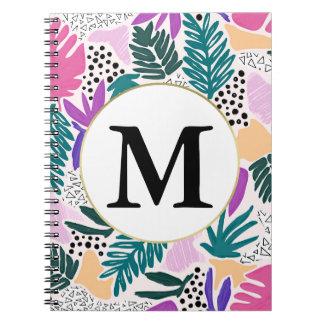Caderno tropical do teste padrão do monograma