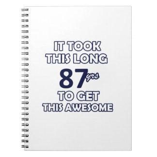 Caderno um design de 87 aniversários