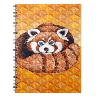Caderno Urso de panda vermelha no Cubism alaranjado