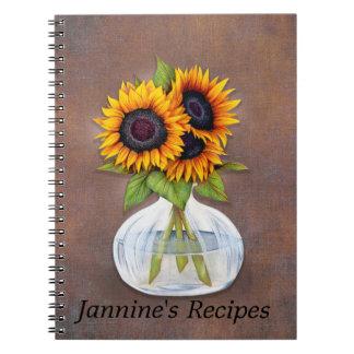Caderno Vaso de girassóis bonitos em Brown rústico