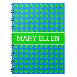 Caderno Verão azul e bolinhas verdes personalizadas