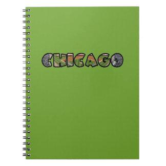 Caderno verde artístico do logotipo de Chicago