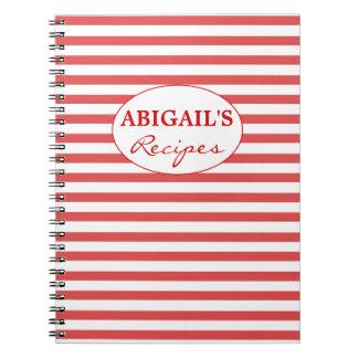 Caderno vermelho & branco da receita do teste