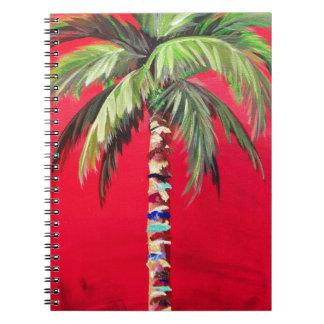 Caderno vermelho da palmeira
