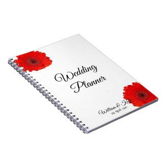 Caderno vermelho personalizado do planejador do