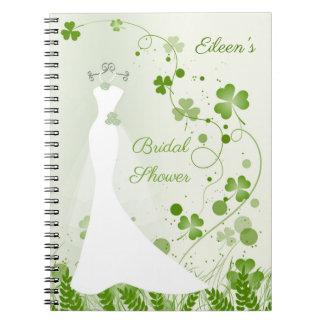 Caderno Vestido de casamento, trevo em um chá de panela do