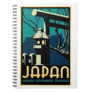 Caderno Viagem japonês do mundo do vintage das estradas de