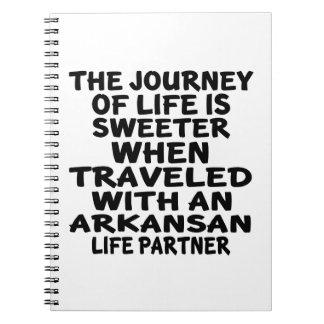 Caderno Viajado com um sócio da vida do Arkansan