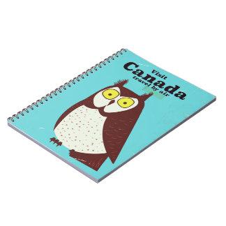 Caderno Visite o poster da coruja de Canadá