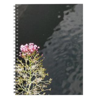Caderno Wildflowers contra a superfície da água de um rio