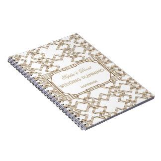 Cadernos 1920 Glam de Gatsby do ouro branco grande que