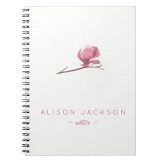 Cadernos A aguarela minimalista simples floral cora rosa