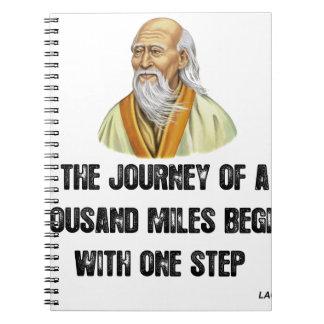 Cadernos a viagem de mil milhas começa com um canto