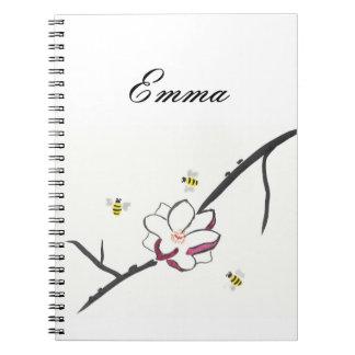Cadernos Abelhas personalizadas da magnólia e do mel