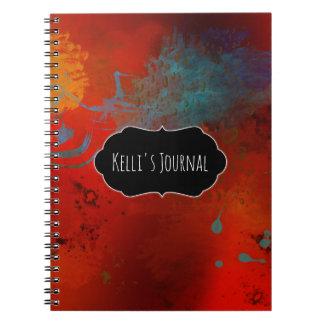 Cadernos Abstrato do Grunge do vermelho, do Aqua & do ouro