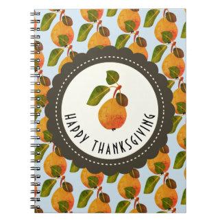 Cadernos Acção de graças da fruta das peras da queda