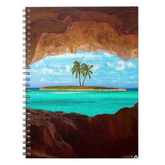 Cadernos Água cénico e palmeiras