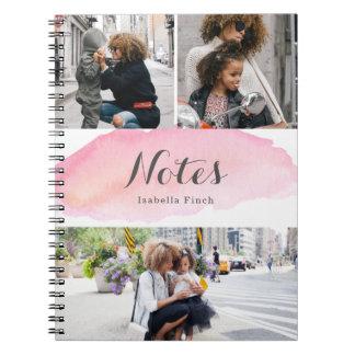 Cadernos Aguarela cor-de-rosa de 3 fotos