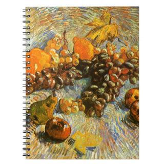Cadernos Ainda vida com maçãs, peras, uvas - Van Gogh