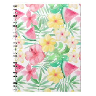 Cadernos Aloha flores e frutas exóticas tropicais