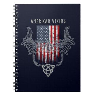 Cadernos Americano Viking. Bandeira, capacete afligido,