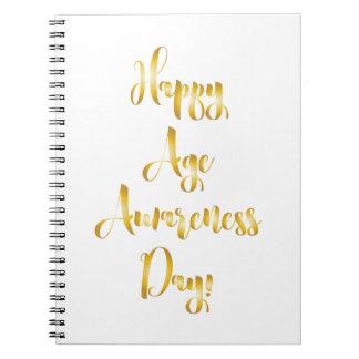 Cadernos Aniversário engraçado do ouro feliz do dia da