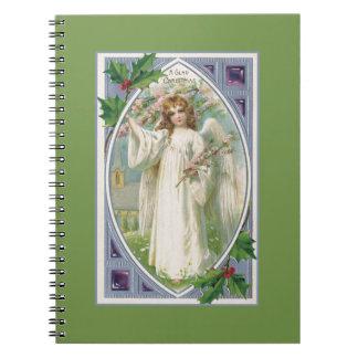 Cadernos Anjo no branco com azul e verde
