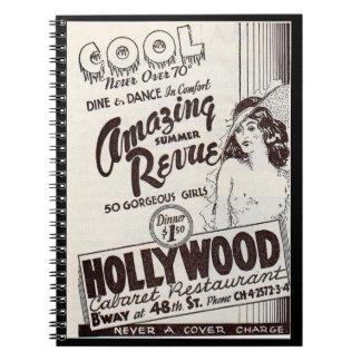 Cadernos anúncio do restaurante da taberna de Hollywood dos