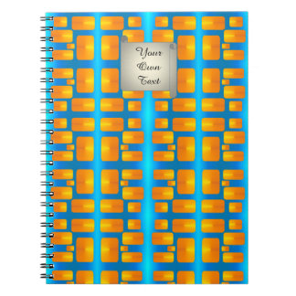 Cadernos Aqua abstrato do minimalismo e laranja brilhante