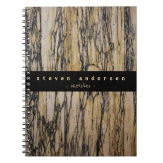 Cadernos Arquiteto elegante da pedra do mármore do preto do